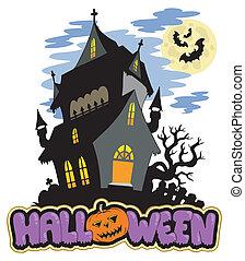 Halloween-Schild mit Spukhaus