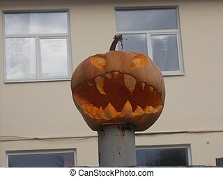 halloween, unheimlicher , wagenheber o laterne, dunkelheit, kürbise