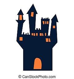 halloween, villa, dunkel, terrorisiert, gebäude