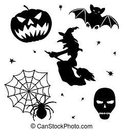 halloween, weißes, satz, silhouette, hintergrund