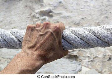 haltegriff, starke , große hand, seil, greifer, antikisiert, mann