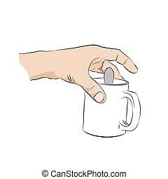 halten hand, cup., becher, mann, menschliche , löffel