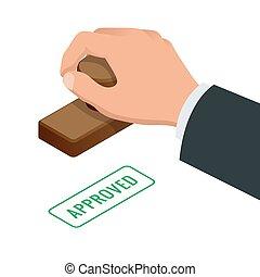 Hand des Geschäftsmanns, das Wort auf einem Papier. Angemessene Stempel-Flach-Vektor isometrische Abbildung