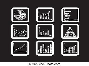 Hand-Doodle-Geschäftsdiagramme.