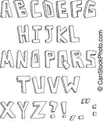 Hand gemaltes Alphabet