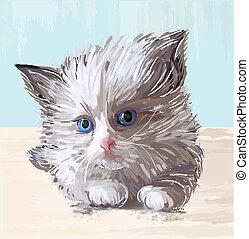 Hand gemaltes Bild des flauschigen Kätzchens mit blauen Augen