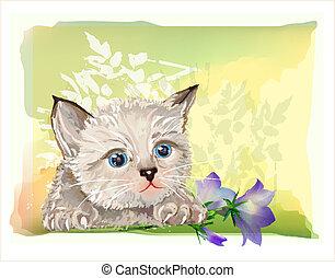 Hand gemaltes Porträt des flauschigen Kätzchens mit Bluebell