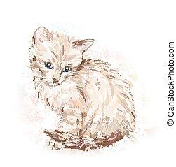 Hand gemaltes Portrait des Kätzchens.