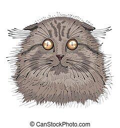 Hand gemaltes Portrait von Cat .