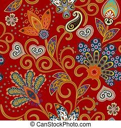 Hand gezeichnete Blume nahtlos Muster. Farbiges, nahtloses Muster mit pargeting grunge whimsical Blumen und Paisley. Helle Farben auf rotem Hintergrund. Vector