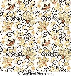 Hand gezeichnete Blume nahtlos Muster. Farbiges, nahtloses Muster mit pargeting grunge whimsical Blumen und Paisley. Beige Hintergrund. Vector