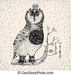 Hand gezeichnete Eule Illustration in Vektor.