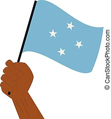 Hand hält und hebt die nationale Flagge von Mikronesien.