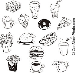 Hand malt Essen im Doodle-Stil
