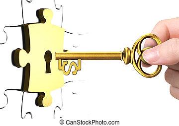 Hand mit Dollar-Zeichenschlüssel offenes Schloßstück.