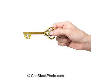 Hand mit goldenem Schatzschlüssel in Dollarzeichenform.