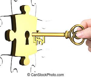 Hand mit Pfund-Symbol-Schlüssel öffnen Schloss-Puzzle.