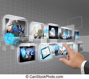 Hand presst Touchscreen Interface
