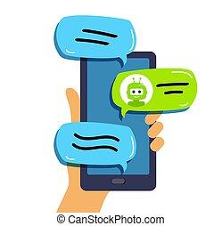 hand, unterhaltung, support., besitz, bot, beweglich, technisch, telefon., begriff