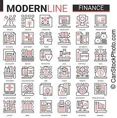 handel, sammlung, schlanke, beraten, ikone, vektor, abbildung, rotes , bank, symbole, analysieren, finanz, geschaeftswelt, analyse, wirtschaftlich, schwarz, linie, technologie, finanziell, konto, satz, grobdarstellung, daten