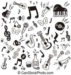 Handgemalt, Doodle-Musik-Icon-Set