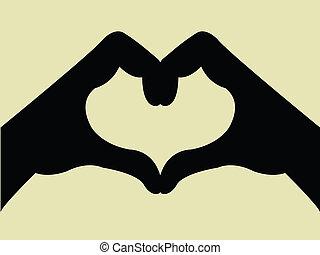 Handgeste mit Herzform.