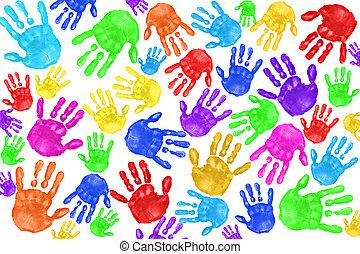 handpainted, kinder, handprints