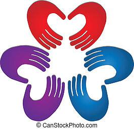 Hands Teamwork Farben Logo.