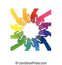 Hands Teamwork Leute Logo.