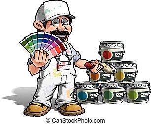 Handwerker - Farbenpicker weißer Uniform.