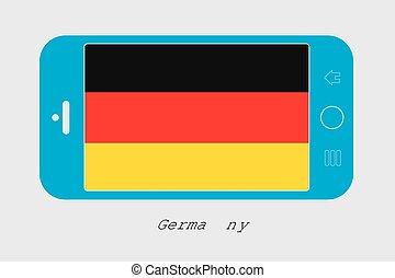 Handy mit der Flagge von Deutschland.