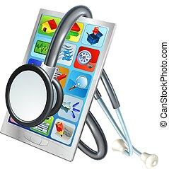 Handy-Reparatur Gesundheitskonzept.