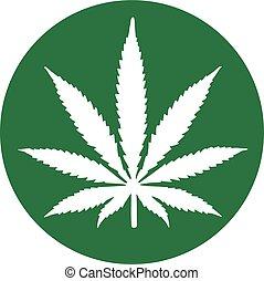 Hanfblatt aus einem grünen Kreis Marihuana.