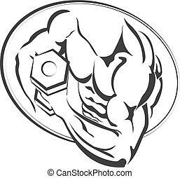 hanteln, silhouette, mann, hand
