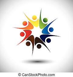 happiness., begriff, &, freude, angestellte, teilen, friends, oder, glücklich