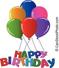 Happy Birthday Ballons mit lebendigen Farben.