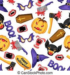 Happy Halloween nahtlose Muster mit Zeichentrick-Feriensymbolen.
