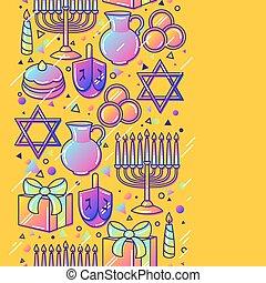 Happy Hanukkah Feier nahtlos Muster mit Ferienobjekten.