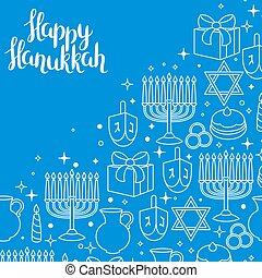 Happy Hanukkah Feierkarte mit Ferienobjekten.