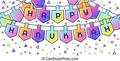Happy Hanukkah Fest Banner mit Ferienobjekten.