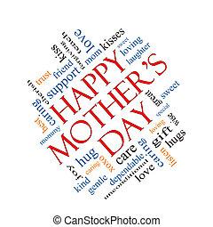Happy Mother's Day Wort Wolke Konzept abgewinkelt.