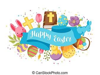 Happy Oster Grußkarte mit dekorativen Gegenständen, Eiern und Kaninchen.