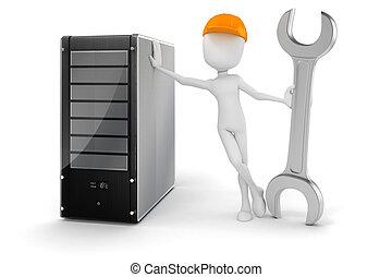 hardware, server, mann, wartung, 3d
