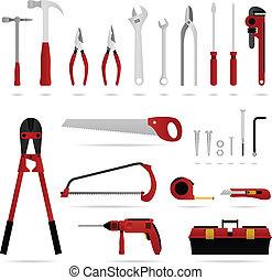 hardware, werkzeugsammlung, vektor