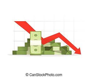haufen , abwärts, pfeil, schaubild, rezession, bargeld, rotes