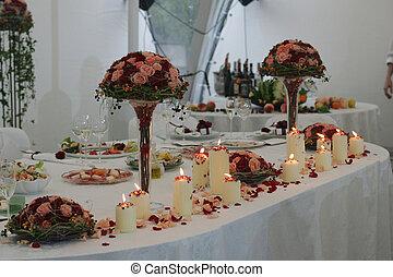 Haupttisch beim Hochzeitsempfang