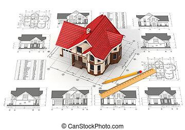 Haus über die Entwürfe in verschiedenen Projektionen und Plänen.