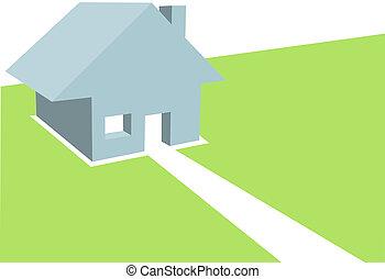 Haus 3D Illustration des Wohnhauses im Kopierraum