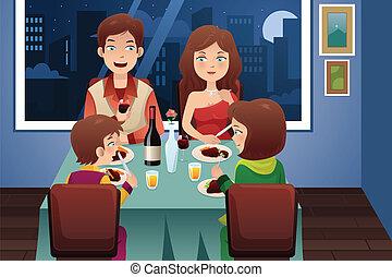 haus, abendessen, modern, haben, familie