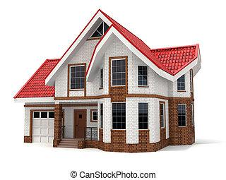 Haus auf weißem Hintergrund. Dreidimensionales Bild.